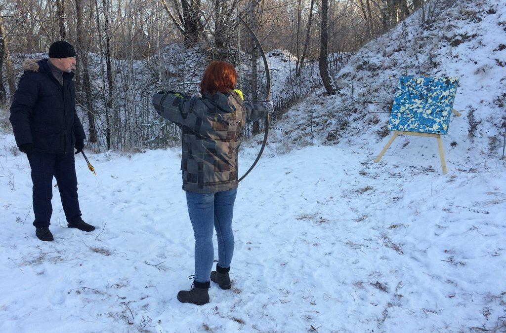 Стрельба из лука зимой в Серебряном бору